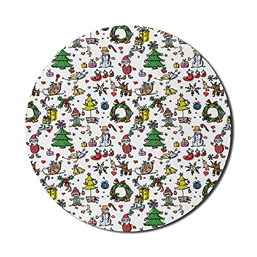 Kinderzimmer Mauspad für Computer, Weihnachtselemente Geschenkboxen Fröhliche Feier Schneemann Weihnachtsmann, Runde rutschfeste dicke Gummi Modern Gaming Mousepad, 8 'rund, mehrfarbig