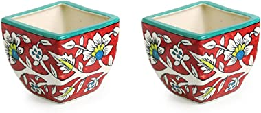 ExclusiveLane Mughal Roots Floral Hand-Painted Ceramic Planters Pot (Set of 2) -Flower Pots for Home Garden Décor Table Plant