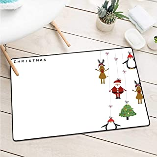 Wang Hai Chuan Christmas Commercial Grade Entrance mat Stylized Reindeers Santa Claus Penguins and Xmas Tree on Stripes Cute Design Catch dust Snow and mud W29.5 x L39.4 Inch Multicolor