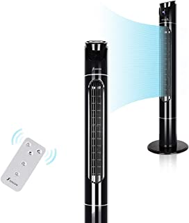 Seekavan Tower Fan Oscillating 43 Inch High Velocity Wind Curve with Remote Control, 3 Speeds, Timer, Memory Function (Black)