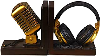 Beapet Art Desktop Bookends,Resin Microphone Headset Design Decorative Bookends Nonskid Bookends,1 Pair Book Holder (Colo...