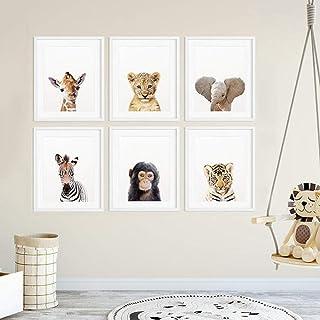 wurenhui 6 Affiches Chambre Bebe Animaux A4 Tableaux Enfants Jungle Posters Toile Cadeau sans Cadre 21x30CM