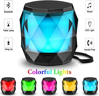 LED Bluetooth Speaker,LFS Night Light Wireless Speaker,Untra Mini Speaker,Diamond Shape Portable Wireless Bluetooth Speaker,Multi-Colored auto-Changing RGB LED Themes,Handsfree/TWS Supported …