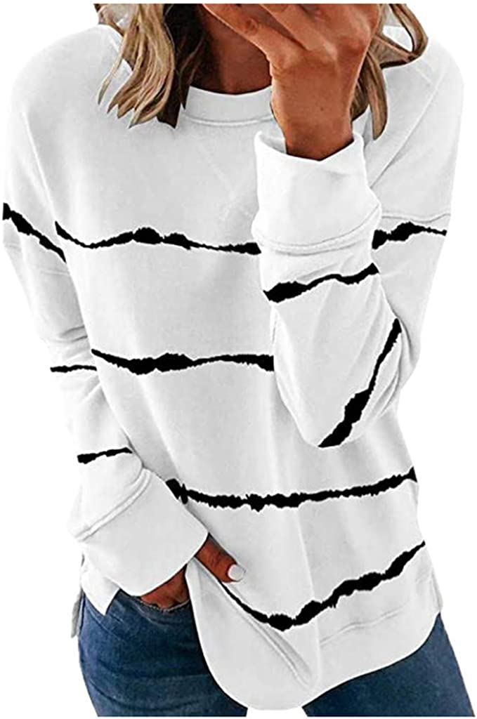 Sweatshirts for Women, Women's Casual Round Neck Fashion Striped Long Sleeve Graphic Tops Pullover Shirts Blouse Sweater