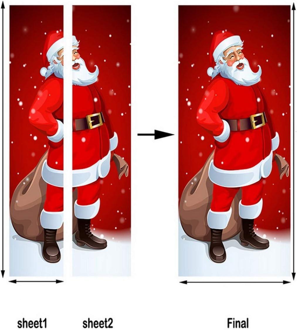 A.Monamour Pegatinas Decorativas de Puerta Autoadhesivo 3D Santa Claus Rojo Dando Regalos A Los Ni/ños Navidad Vinilo para Puertas Mural PVC Pegatinas de Pared Foto Poster 77 x 200 cm