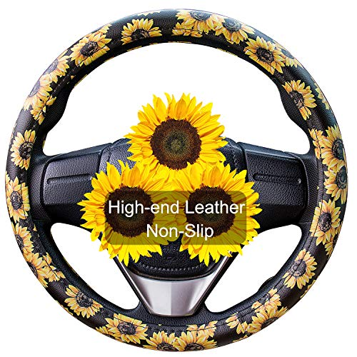 Evankin Sunflower Steering Wheel Cover Cute and Handmade ,Leather...