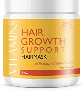 Nourish Beaute Vitamins Hair Mask for Deep Conditioning and Hydration on Dry Damaged Hair that Promotes Regrowth for Men and Women, 8 Ounces