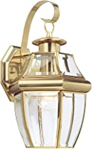 Sea Gull Lighting 8067-02 Lancaster One-Light Outdoor Wall Lantern with Clear Curved Beveled Glass Panels, Polished Brass Finish