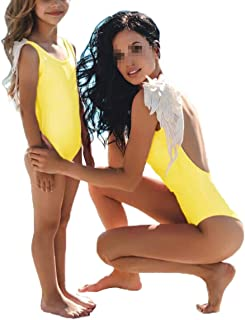 Family Matching Mother Daughter Swimsuit One Piece Backless Bikini Swimwear with Feather Wings