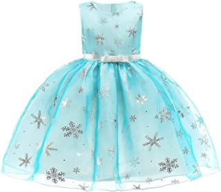 Hot Sale 2-7T Kids Girls Snowflake Star Print Belt Princess Dress Christmas Xmas Wedding Birthday Party Outfits Costume