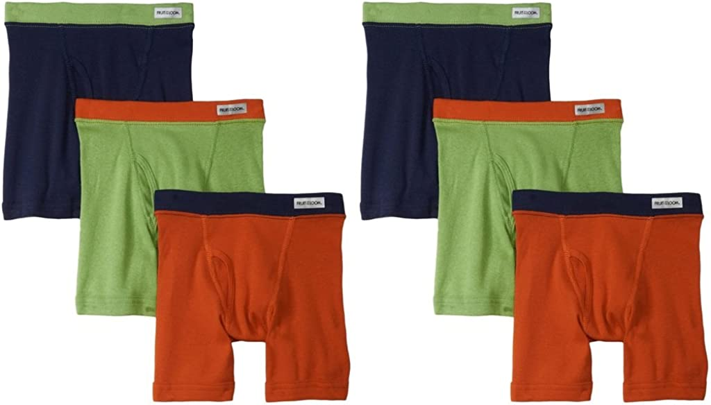 Fruit of the Loom 6-Pack Boys Assorted Boxer Briefs Underwear Covered Waistband, 2T/3T