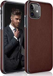 LOHASIC for iPhone 11 Case, Luxury Leather Thin Slim Fit Rugged Bumper Non-Slip Soft Grip Anti-Scratch Shockproof Protective Phone Cover Cases Compatible with Apple iPhone 11 6.1 inch (2019) - Brown