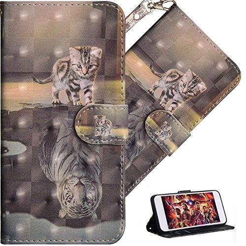 Huawei Y3 2017 Hülle Luxus 3D Süßes Cat Tiger Flip Standfunktion Karten Slot Magnetverschluß Brieftasche Taschen Schalen Handy Ledercase für Huawei Y3 2017,Cat Tiger