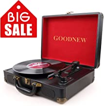 GOODNEW Vinyl Record Player Turntable, 3-Speed Portable Stereo Turntable with Built in Speakers,Support Headphone & RCA Output and AUX Input Jack (Speed Portable Stereo)