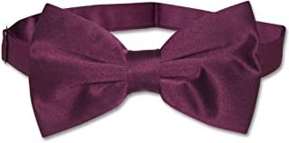 Vesuvio Napoli BOWTIE Solid EGGPLANT PURPLE Color Men's Bow Tie for Tux or Suit