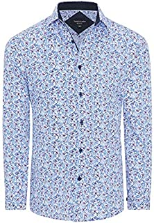 Tarocash Men's Deacon Slim Floral Shirt Slim Fit Long Sleeve Sizes XS-5XL for Going Out Smart Occasionwear