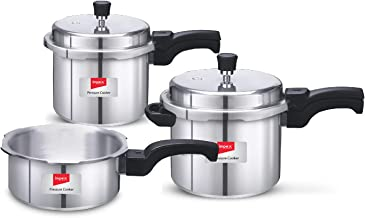 Impex IFC 235 Induction Base Aluminium Pressure Cooker Family Combo Set with Outer Lid (Silver, 2, 3 and 5 L)