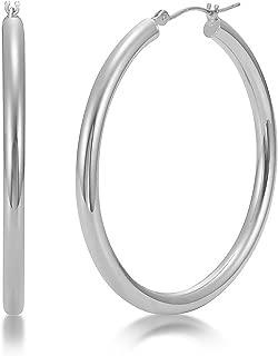 14K White or Yellow Gold 3mm Tube Hoop Earrings High Polish 20mm - 40mm Diameter