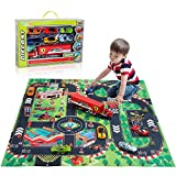 TEMI Diecast Racing Cars Toy Set with Activity Play Mat, Truck Carrier wiht 6 Sport Cars, Alloy Metal Race Model Car and Assorted Vehicle Play Set for Kids, Boys & Girls