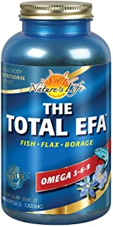 Natures Life The Total EFA Fish Oil w/ Organic Flaxseed & Borage Oils | 1200 mg | Skin, Heart & Memory | 180 Softgels