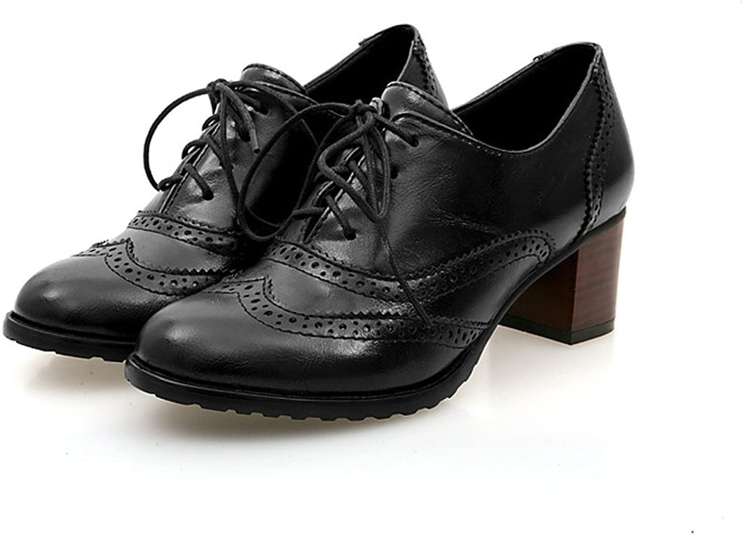 Milesline England Brogue shoes Womens Lace-up Mid Heel Wingtip Oxfords Vintage PU Leather shoes