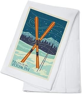 Killington, Vermont - Crossed Skis - Letterpress (100% Cotton Kitchen Towel)