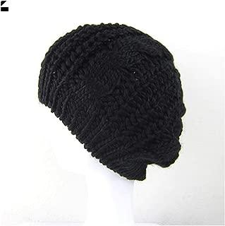 Women Sweet Crochet Warm Solid Color Beret Artist Baggy Beanie Winter Hat Gift Black One Size