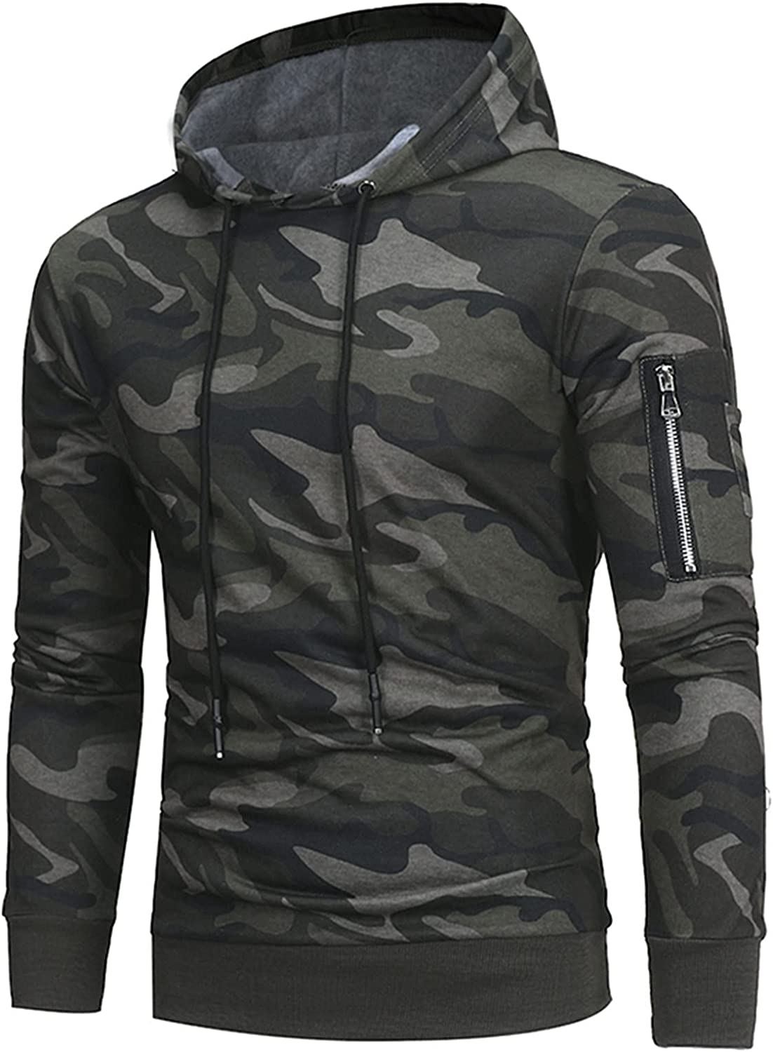 HONGJ Camo Hoodies for Mens, Fall Camouflage Ribbed Cuff Drawstring Casual Hooded Sweatshirts Workout Fitness Pullover