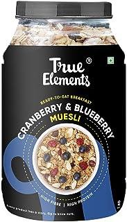 True Elements Cranberry Blueberry Muesli 1kg - Fibre Rich Breakfast Cereal