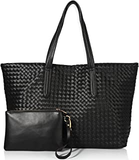 Women Fashion Handbags Weaving Leather Tote Bag Shoulder Bag Top Handle Satchel Purse