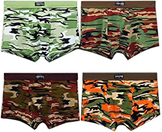 Mens Boxer Briefs, Low Rise Sports Underpants Bulge Camouflage Print Soft Cotton Underwear Pack of 4