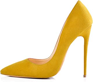 6edefd676d82 onlymaker Women s Sexy Pointed Toe High Heel Slip On Stiletto Pumps Large  Size Basic Shoes