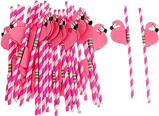 SONONIA ピンク 25pcs フラミンゴ ストライプ ストロー トロピカル ビーチパーティー/バー用の器物