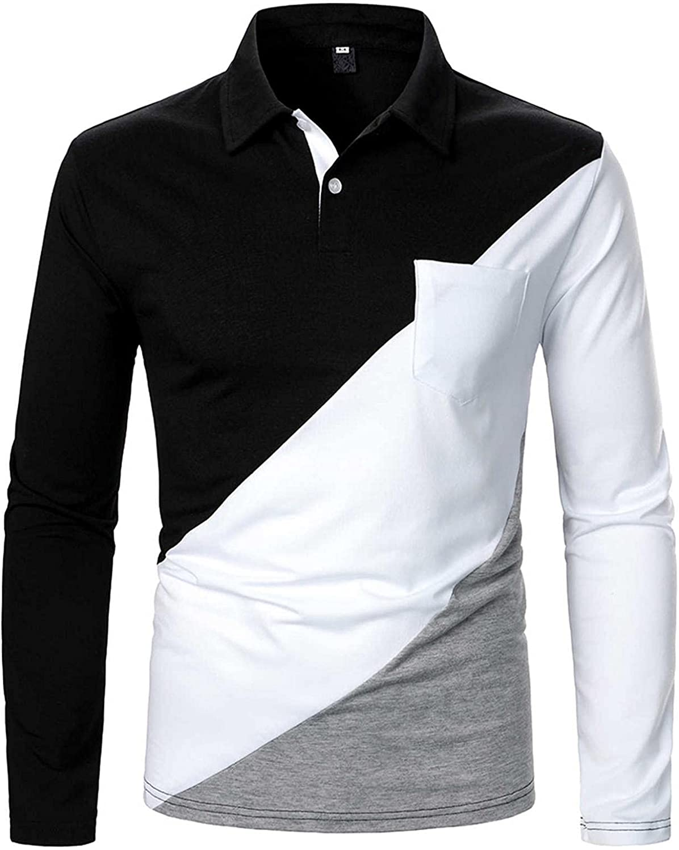 Burband Mens Modern Stripe Lapel Collar Pique Polo Shirts Slim Fit Contrast Color Patchwork Long Sleeve T Shirts