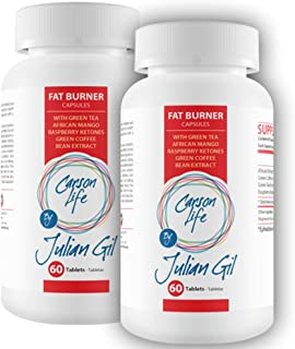CARSON LIFE Fat Burning Pills By Julian Gil - 2 Pack, 60 Pills Each - Energy Boosting Formula With Green Tea, African Mang...