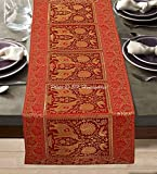 DK Homewares Indian Tradicional Casa Decoración 60 X 16 Camino De Mesa Brocado Jacquard Elefante Pavo Real, Floral 5 Ft Paño Mesa (150 X 40 Cm ; Oro Rojo)