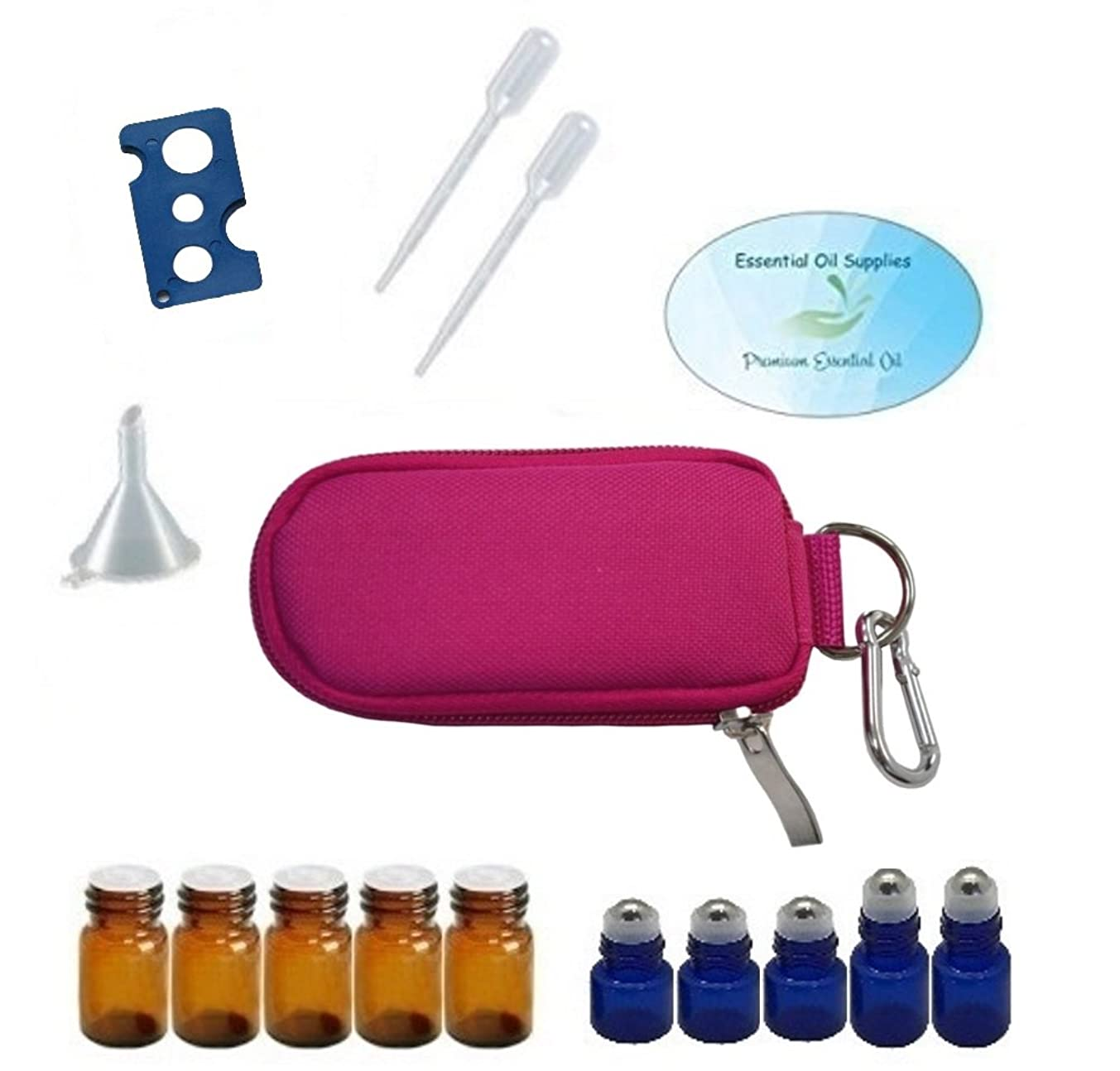 10 Bottle Essential Oil Padded Keychain Carrying Case Travel Bag, Roller Bottles and Euro Orifice Reducer Bottles, Bottle Opener, Funnel, Pipettes (Rose Pink)