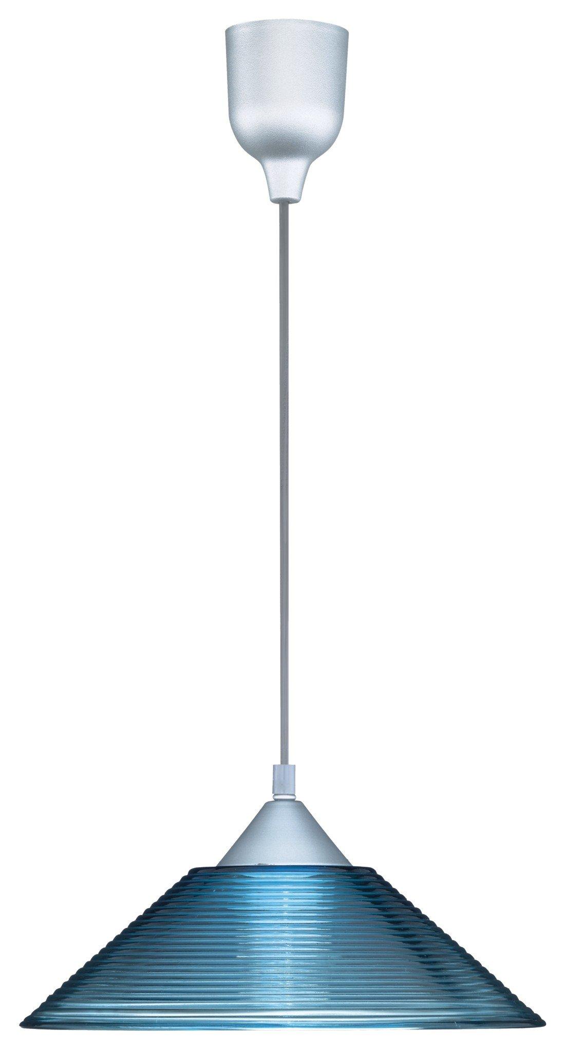 Trio 301400112シーリングライト凹面ガラスの直径30センチメートル長さ125センチメートル青透明1×E27 *大型60ワット電球付き