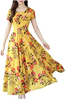 Women Vintage Party Long Dress, Ladies Floral Printed Short Sleeve Beach Casual Dress