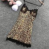 BVBVBV Conjuntos de lencería para Mujer Ropa de Dormir para Mujer Pijamas de Seda de imitación de Gran tamaño Ropa Interior para el hogar camisón Estampado de Leopardo M