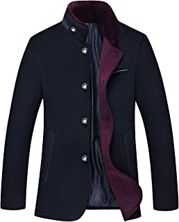 chouyatou Men's Gentle Band Collar Single Breasted Wool Blend Pea Coat
