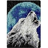 Wolf Knüpfen Set Unvollendet Tapisserie Teppich Set Zum Selber Knüpfen Kreuzstich Set Knüpfkissen Knüpfteppich Für Kinder Und Erwachsene DIY Handwerk Geschenk Für Freund Knüpf-Sets 52Cm X 38Cm