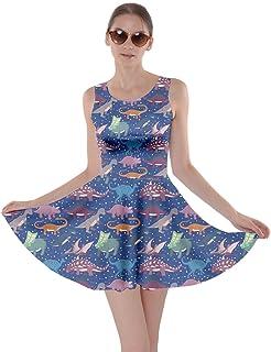 1a0990217ca5b CowCow Womens Tyrannosaurus Triceratops Rex Dinosaur Jurassic World Skater  Dress, XS-5XL
