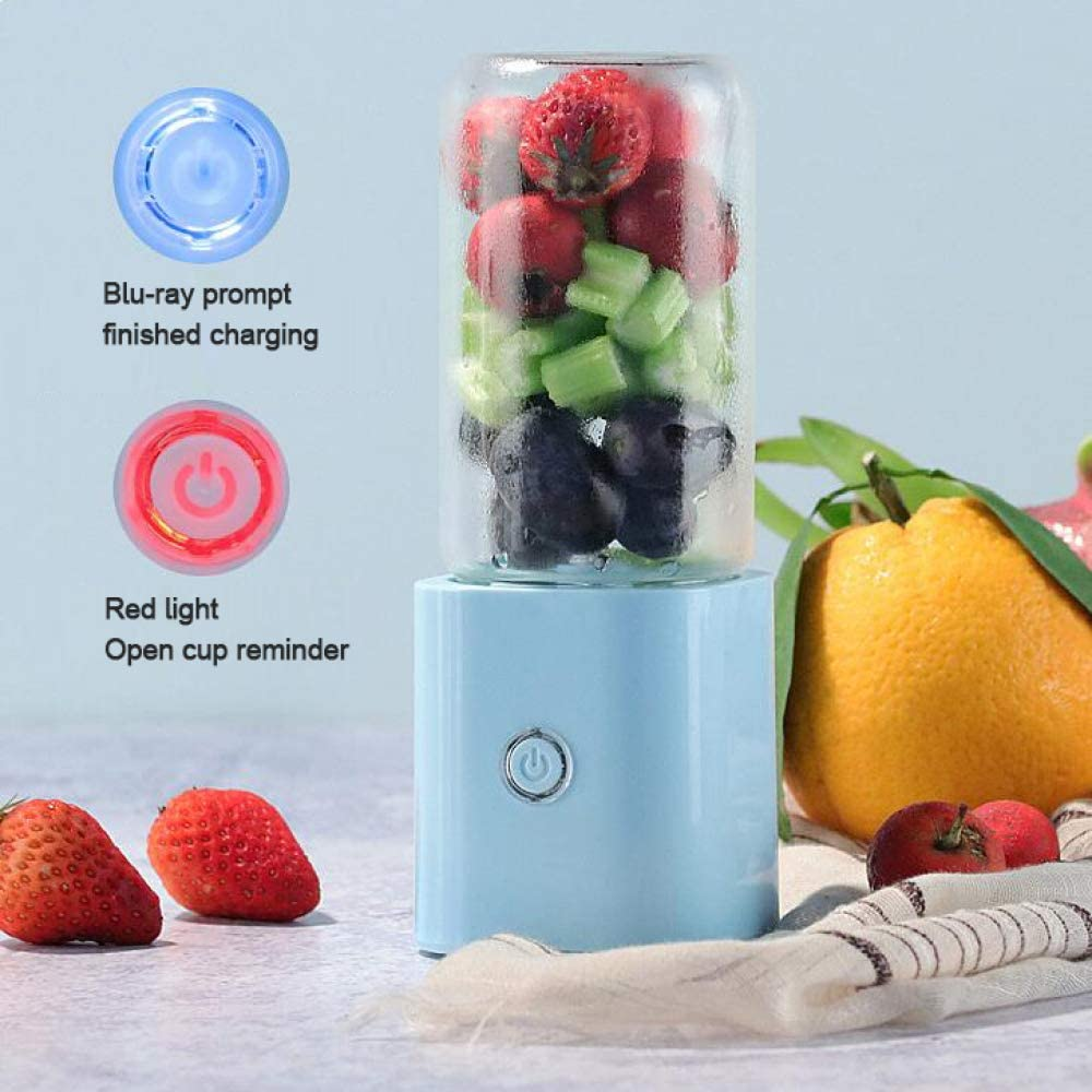 Mini Batidora Exprimidor Multiusos Portátil Jugo Eléctrico Taza Licuadora Juicer Frutas Exprimidores Máquina Carga USB Botella Agua Estudiante Corriendo,Blue Blue