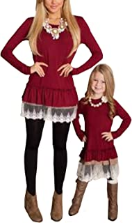 Acircle Mommy & Me Long Sleeve Lace Ruched Shirt Tops Blouse Family Matching Clothes Outfits