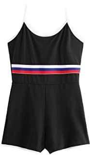 da631a4b3f Romwe Women s Skinny Sleeveless Colorblock Striped Graphic Print Panel  Halter Backless Short Romper Jumpsuit