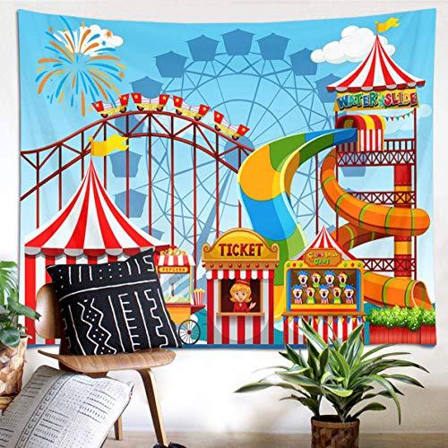 N\A Tapiz de decoración de Circo, montaña Rusa y Rueda de la Fortuna, Tapiz, Carpa de Payaso y tapices de tobogán para Dormitorio, Sala de Estar, Dormitorio, decoración de Fiesta
