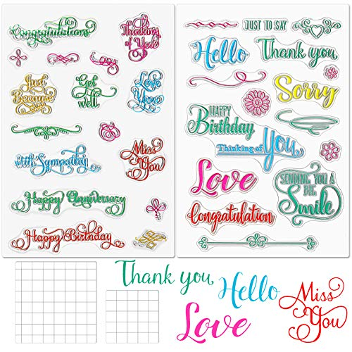 4 Pieces Crafts Words Clear Stamps Blessing Words Stamp Silicone Stamp Cards and Acrylic Stamp Blocks Tools with Grid Lines for Card Making Decoration and DIY Scrapbooking (Colorful)