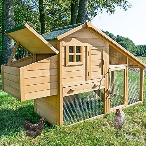 Zooprinz Premium XXL Hühnerstall mit Nistkasten und Kotschublade - aus massivem Vollholz und stabilem Draht - Hühnerstall schnell zu reinigen - langlebig Dank hochwertiger Lasur und Bitumendach