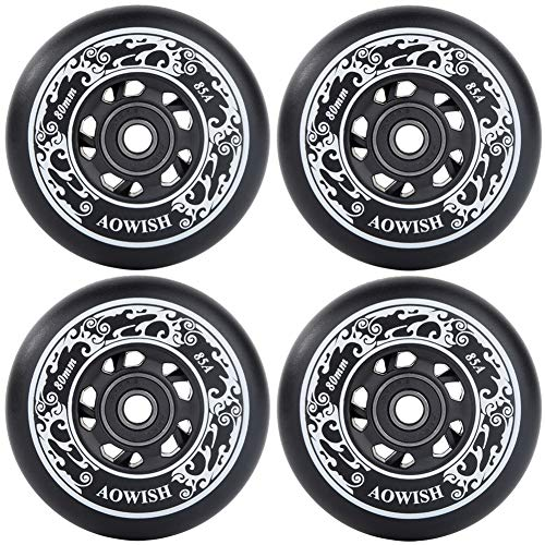 AOWISH 4-Pack Inline Skate Wheels Outdoor Asphalt Formula 85A Hockey Roller Blades Replacement Wheel with Bearings ABEC-9 and Aluminum Spacers (Black, 80mm)